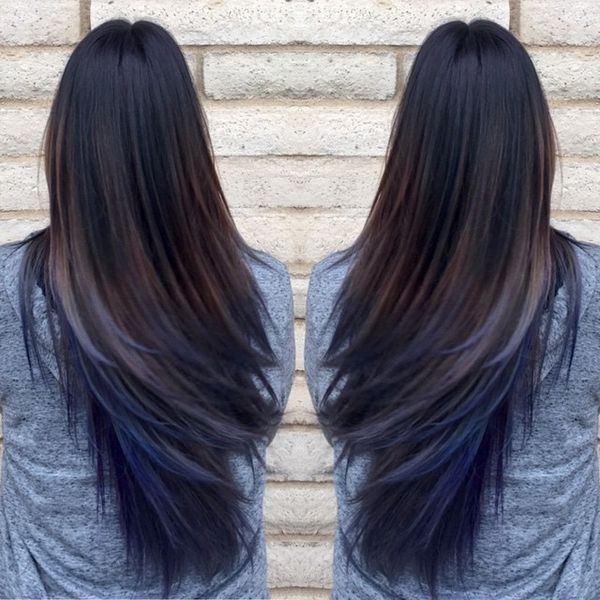 Brown Hair With Blue Underneath Hair Styles Blue Ombre Hair Oil Slick Hair