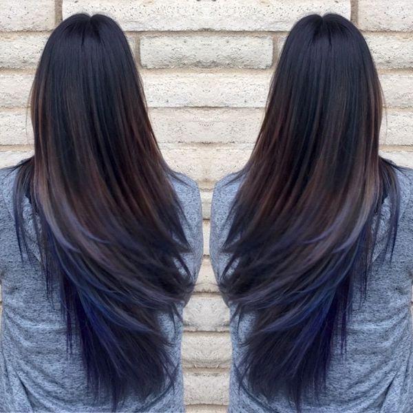 Brown Hair With Blue Underneath Hair Styles Blue Ombre Hair Oil Slick Hair