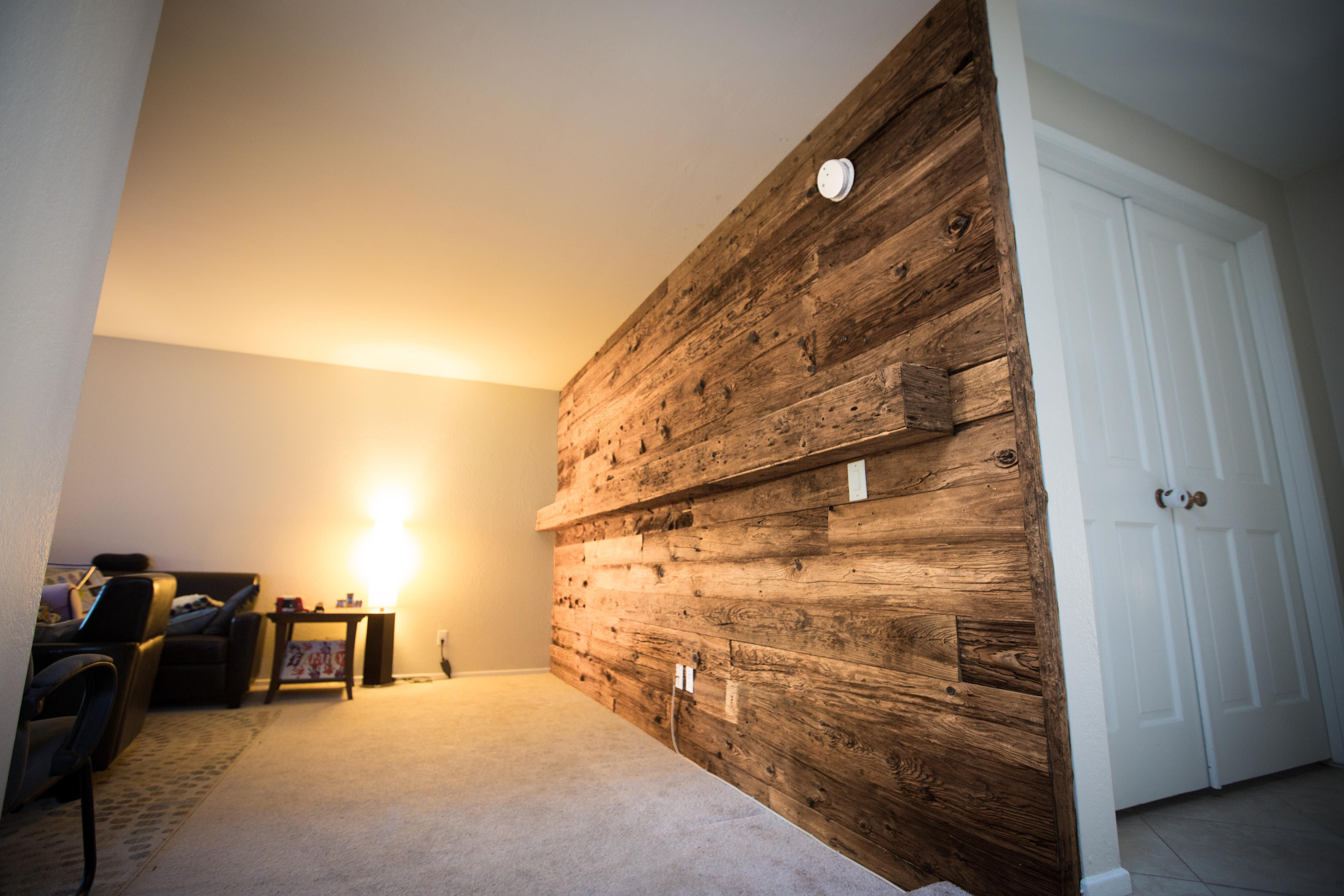 Porter Barn Wood Reclaimed Mushroom Wood Wall With Mantle Porterbarnwood Mushroomwood