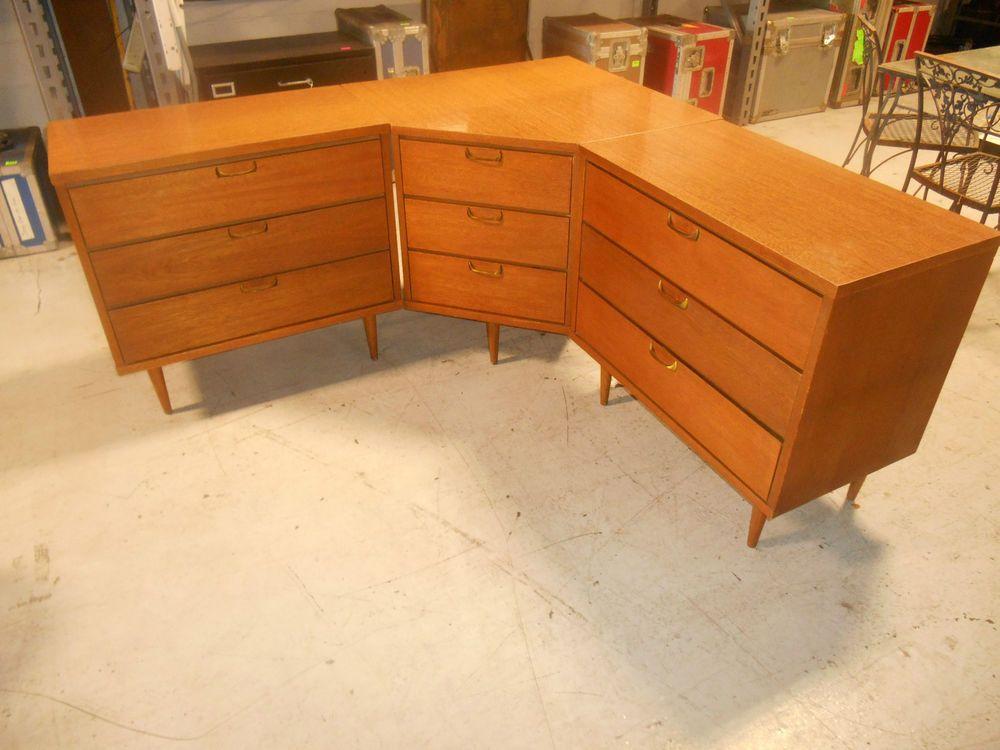 Rare Mid Century Danish Modern 3 Piece Corner Dresser Set Original