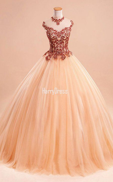 Orange Ball Gown High Neck Tulle Floor Length Appliques Lace Prom ...