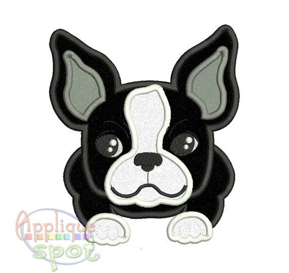 Boston Terrier Puppy Dog Baby Boy 4 sizes 4x4 5x7 by AppliqueSpot ...