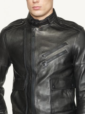 Ralph Lauren Black Label Leather Zipped Bomber. It's major.