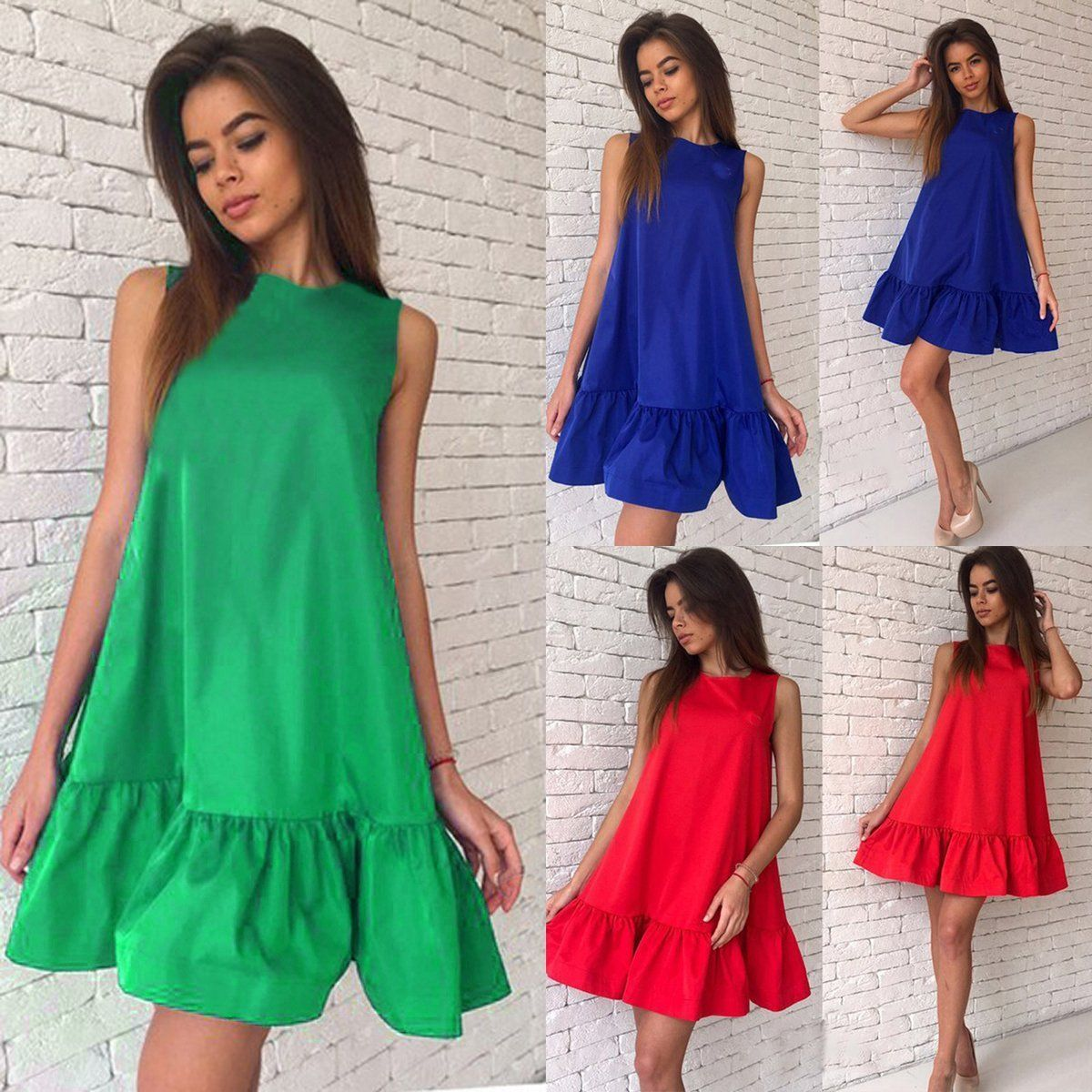 e21668c2cf89 Women Summer Casual Sleeveless Evening Party Beach Dress Short Mini Dress