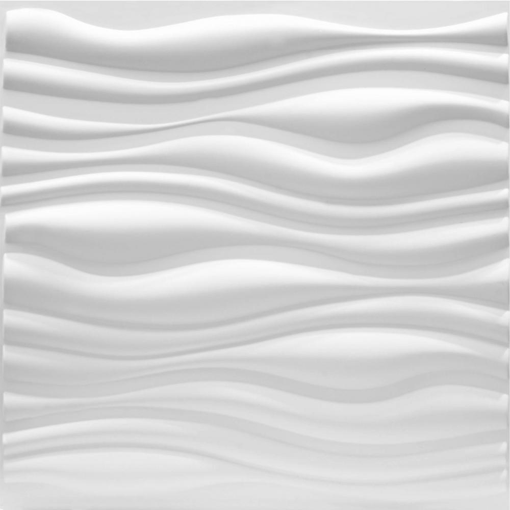 Luxorware 19 7 In X 1 In X 19 7 In White Pvc Fiber 3d Wall Panels 12 Pack Lw3d803 The Home Depot Textured Wall Panels 3d Wall Panels 3d Wall Tiles