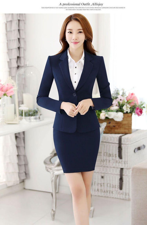 e111aa6bb48 Elegant Office Lady Blazer Skirt  suit Formal Women Business Suit Female  Workwear