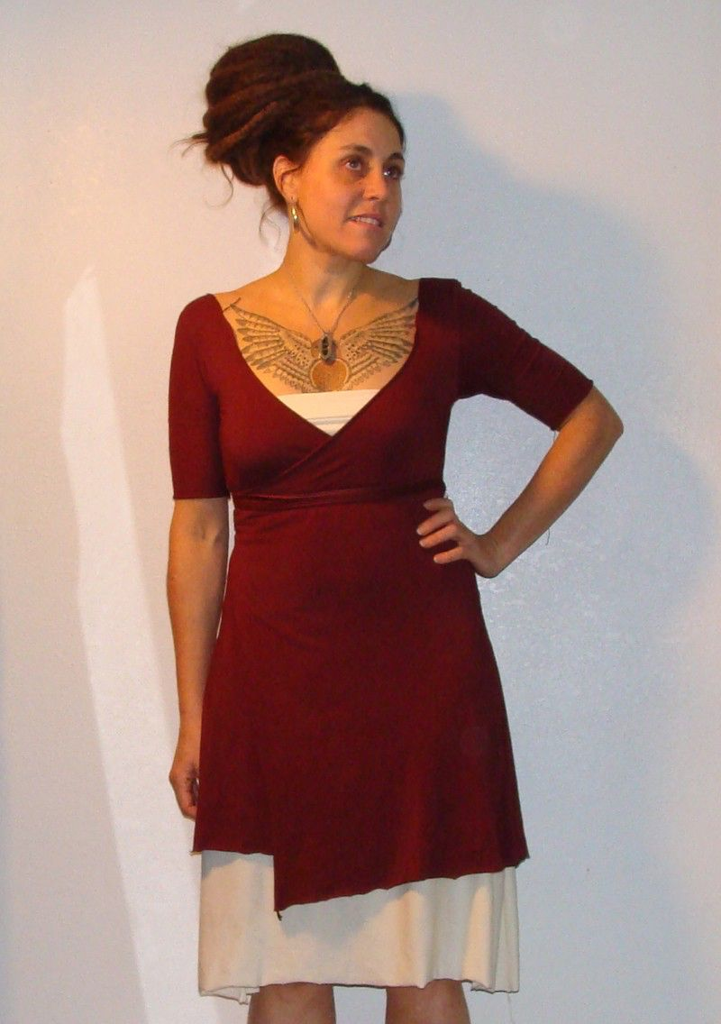 Organic cotton and bamboo wrap dress custom order in your size and