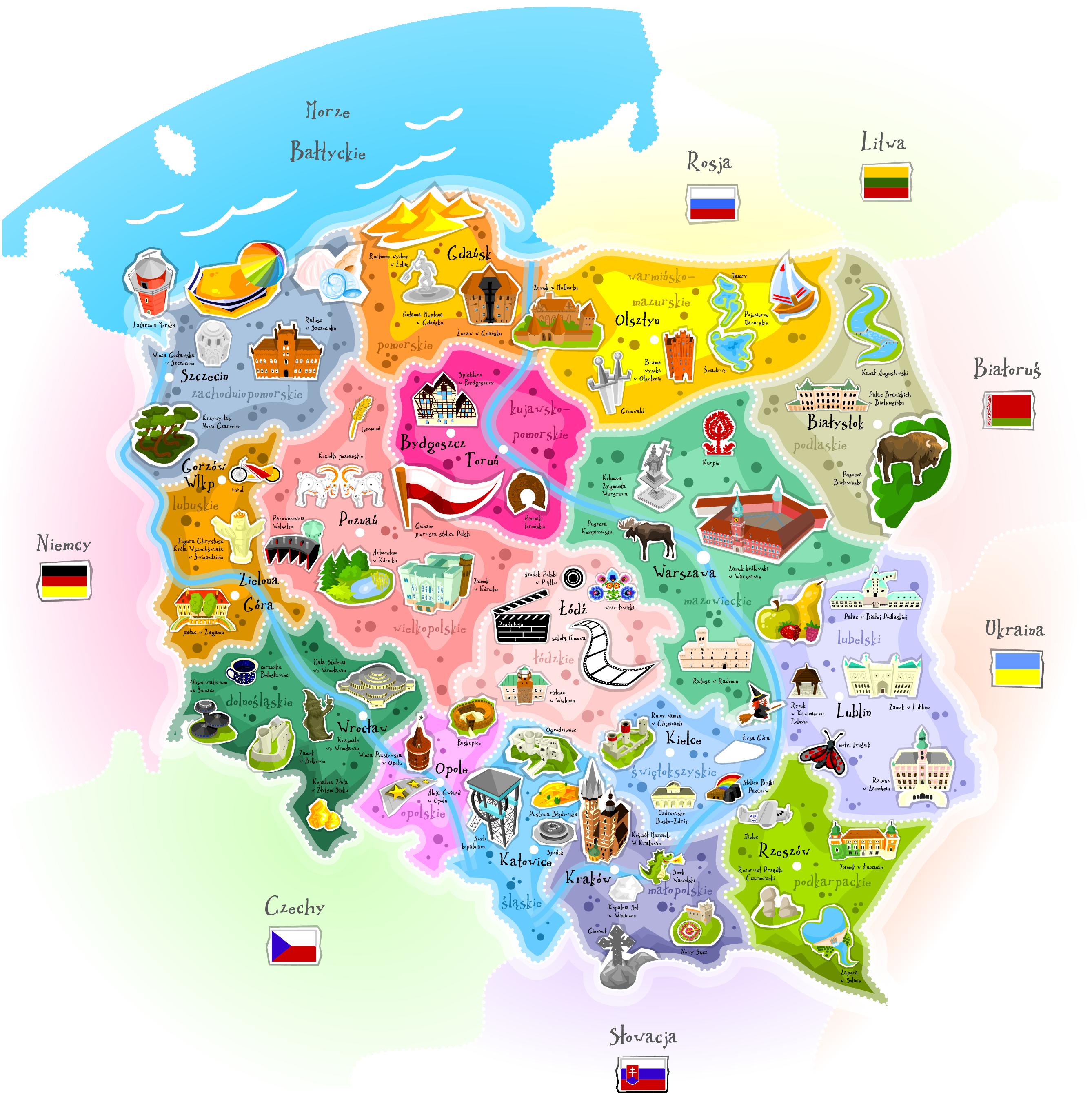 Mapa Polski Powazniaki Pl Edukacja Domowa Mapa Edukacja