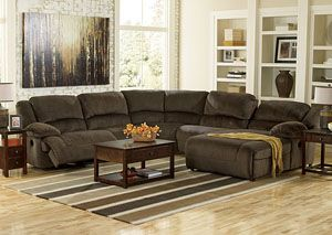 Toletta Chocolate Right Facing Chaise End Reclining Sectional,  /category/living Room/