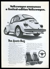 VW The Sports Bug 1973 VOLKSWAGEN BEETLE Limited Edition Car VINTAGE AD