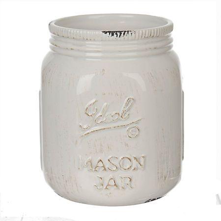 Cream Ideal Mason Jar Ceramic Utensil Holder Ceramic
