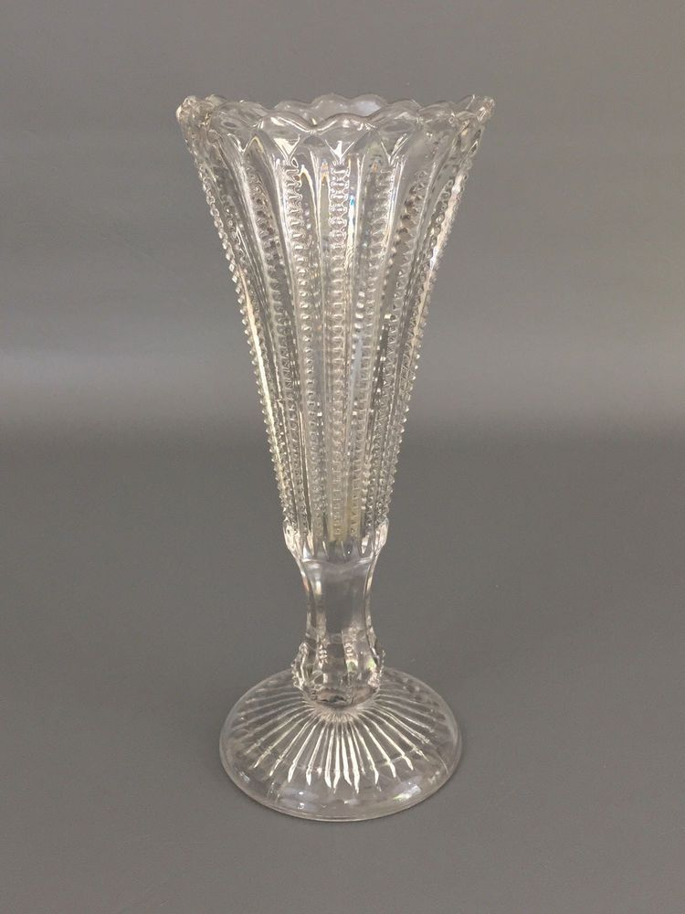 Antique Clear Pressed Glass Vase Zipper Aka Cobb Or Late Sawtooth C