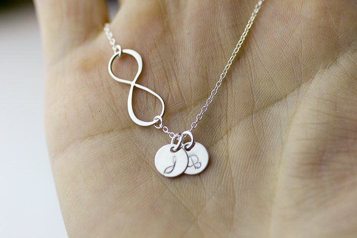 Photo of Items similar to Personalized Infinity Necklace. Initials Silver Necklace. monogram custom letter Sideway Infinity necklace. on Etsy