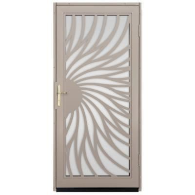 Unique Home Designs 36 In. X 80 In. Solstice Tan Surface Mount Steel  Security Door With Shatter Resistant Glass And Brass Hardware Part 55