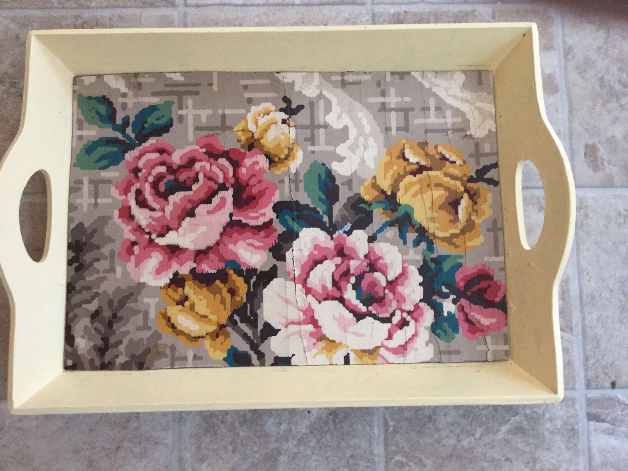 Wooden tray with vintage linoleum inlay