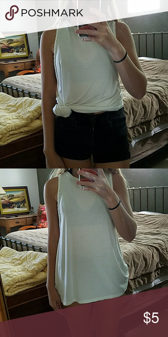 American Eagle Braided White Tank Very long, but can be tied at the waist. American Eagle Outfitters Tops Tank Tops
