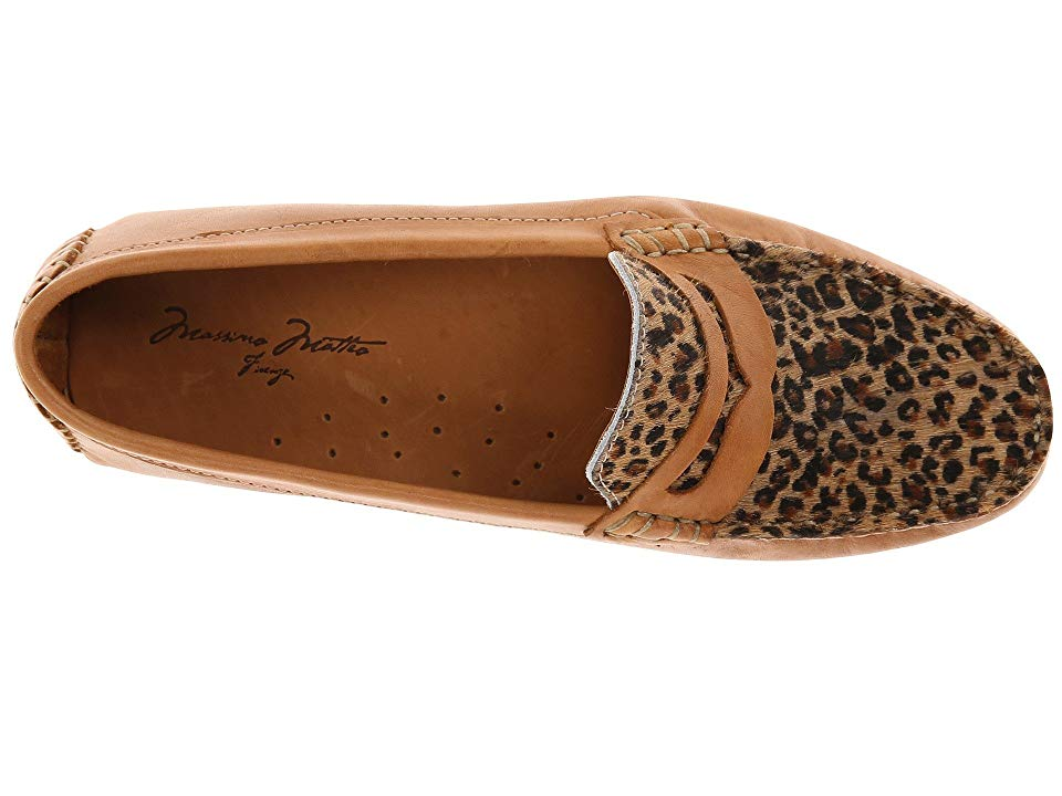 13a86f4862d Massimo Matteo Penny with Cheeta Vamp Women s Moccasin Shoes Tan Bison  Cheeta
