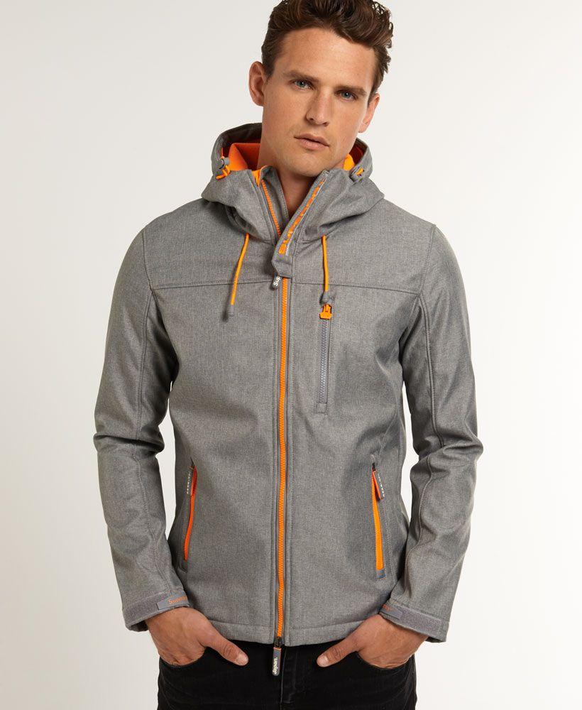 Mens - Windtrekker Jacket in Light Grey Marl/fluro Orange