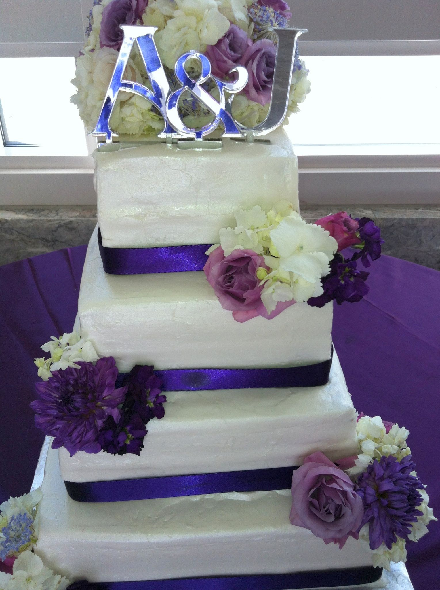 square wedding cake with purple ribbon square wedding cake with purple ribbon and flowers 20438