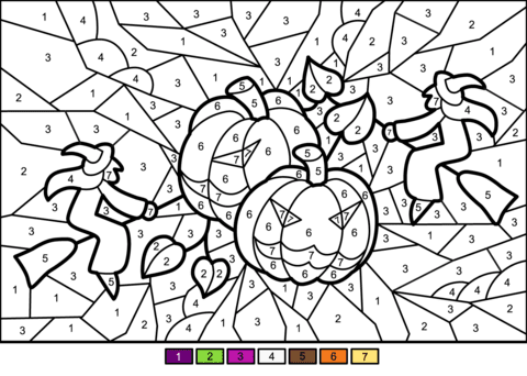 Halloween Pumkins And Witches Color By Number Free Printable Coloring Pages Printable Col Halloween Coloring Pages Halloween Coloring Halloween Coloring Sheets