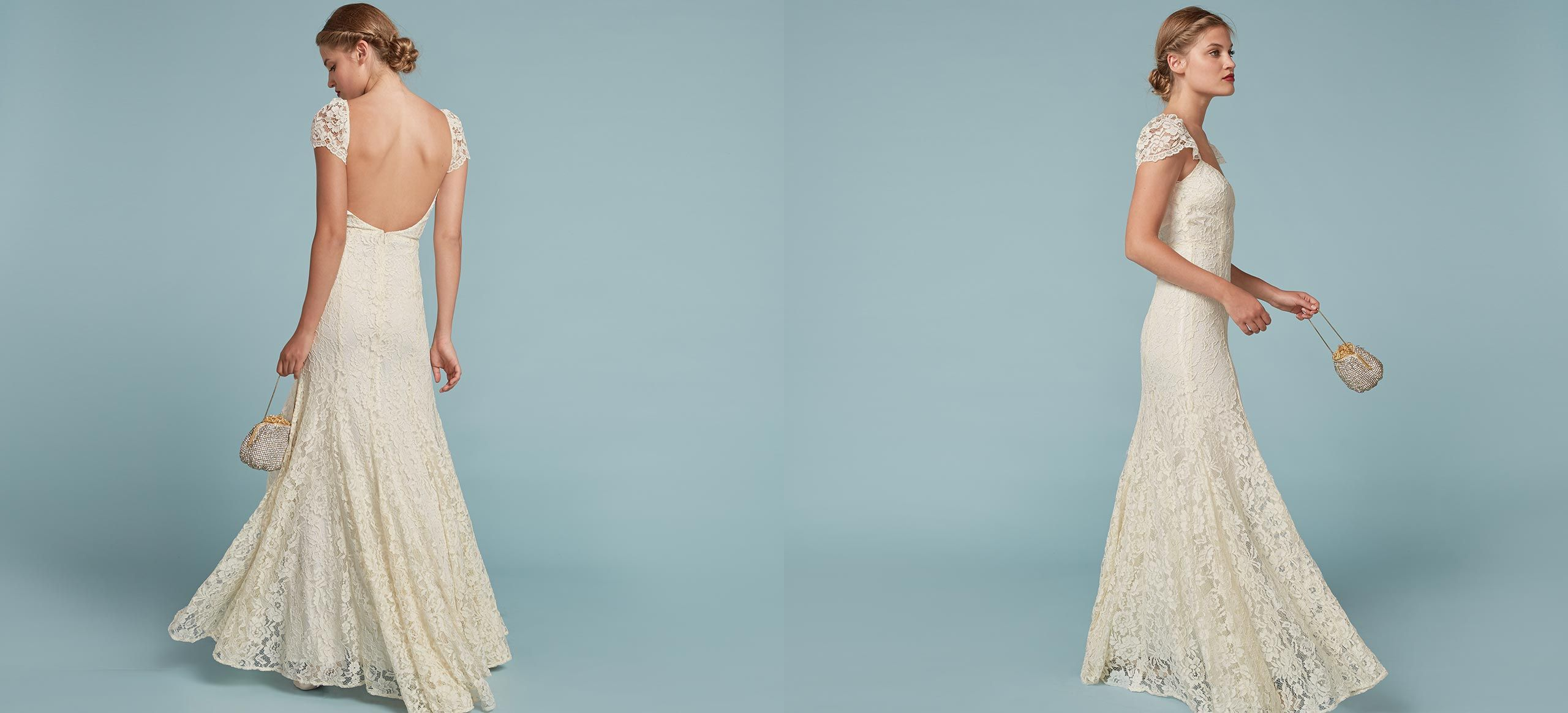 You can do this. This is a floor length gown with an open back, cap ...