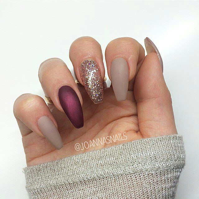 Matte Nude Red Gold Coffin Nails