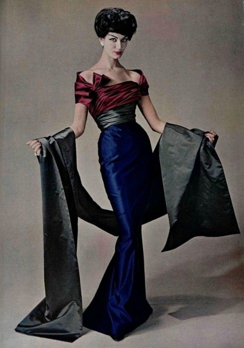 Simone d'Aillencourt in a three coloured gown by Pierre Balmain for L'Officiel, Autumn 1957. Photo by Philippe Pottier.
