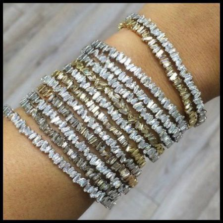 off bangles bangle diamond gold bracelet flash baguette bracelets tone two your new sparkling