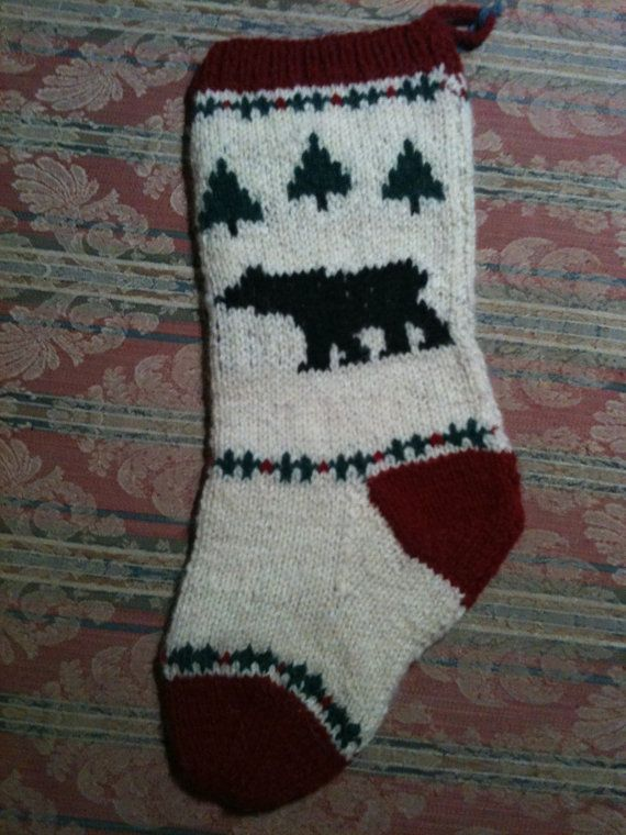 Black Bear Christmas Stocking Pattern to Knit Your Own. | Crafts and ...