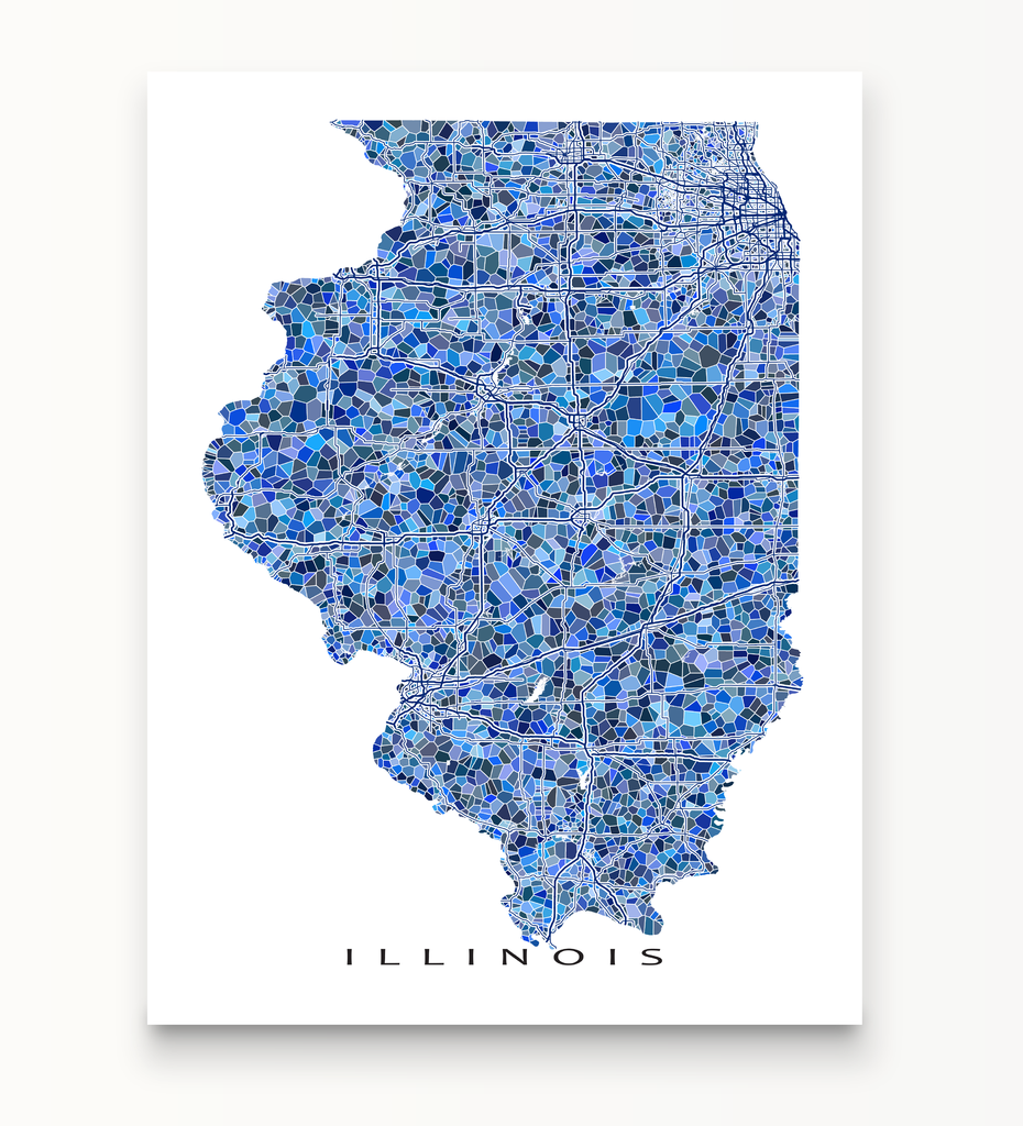 Blue mosaic style Illinois state road map
