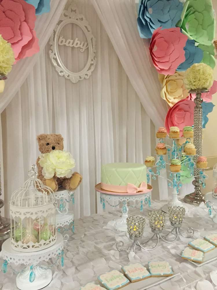 Pretty Baby Shower With A Wonderful Paper Flower Backdrop See More Party Ideas At Catchmyparty