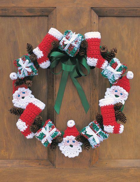 Free Crochet Christmas Wreath Pattern Ho Ho Ho Jolly Santas
