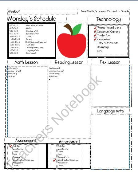 Awesome Lesson Plan Template From Mrs Shelbys 4th Grade On