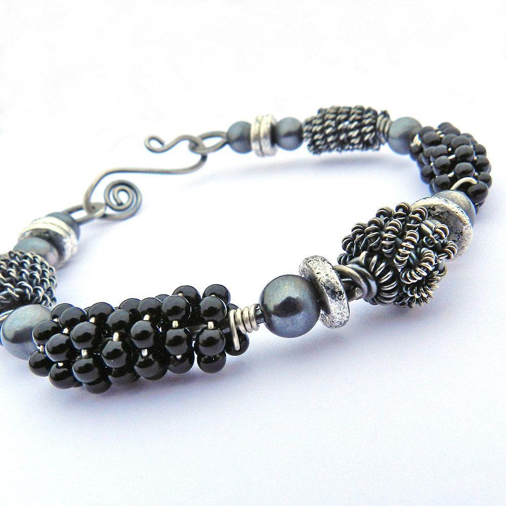 Black wire wrapped bangle bracelet | Wire Bracelets | Pinterest ...