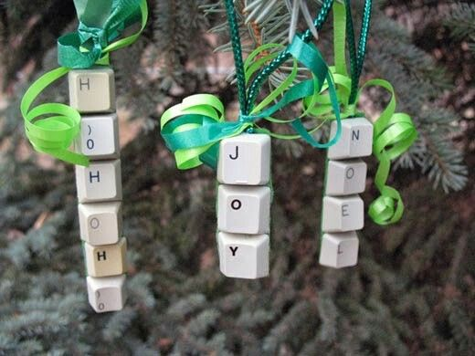 Christmas words made from old computer keyboards.