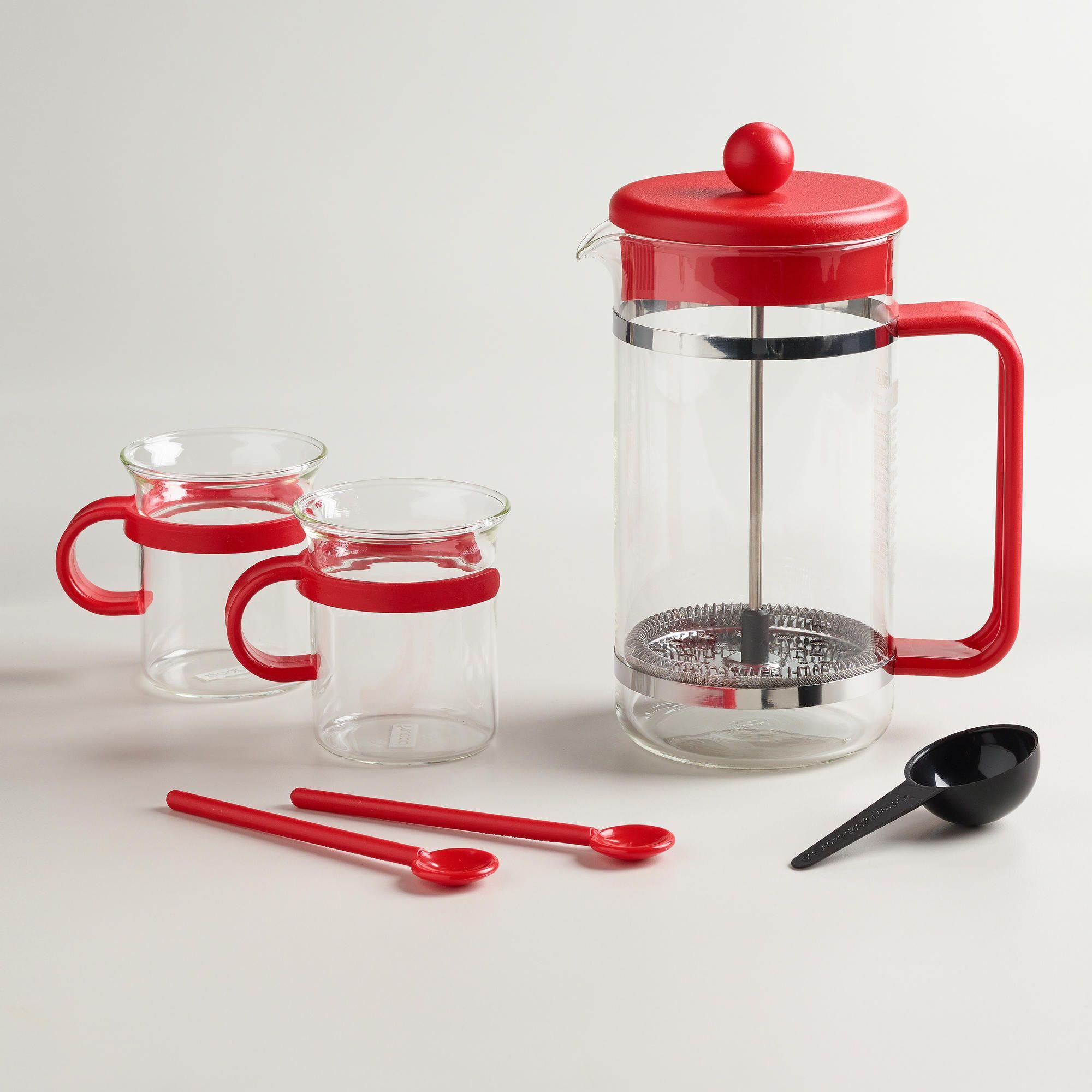 Red Bodum Bistro 5Piece French Press Coffee Maker Set
