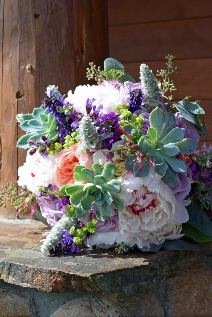 Roses In Garden: Sweet Peach, Purple, Sage, Early Summer Wedding Bouquet