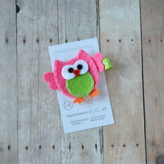 Hot Pink and Apple Green Felt Owl Hair by MasterpiecesOfFunArt