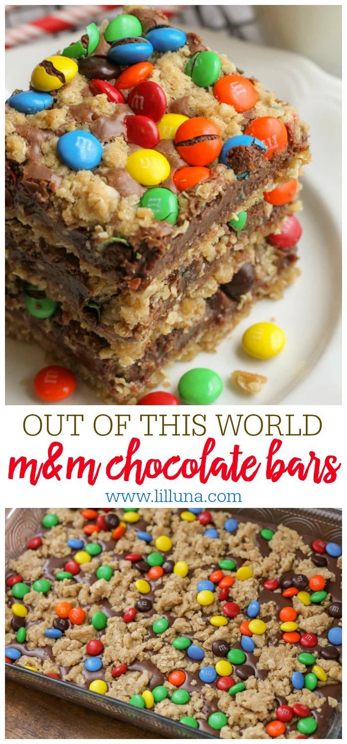 One of the best bar recipes you'll ever try!! These M&M Chocolate Oat bars have layers of oats, a sweetened condensed milk and chocolate center topped with more oats and M&Ms.
