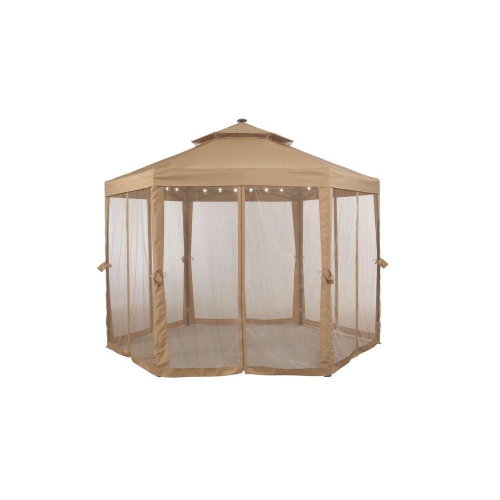 Royal Garden 10 ft. x 10 ft. Solar LED Lighted Gazebo ...