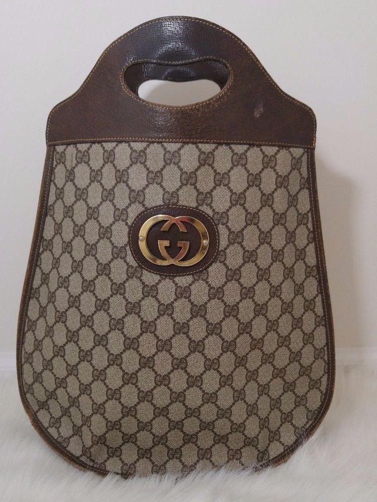 691c71e91 Vintage Gucci Shopper Tote Brown Monogram Medium Handbag Purse Coated  Canvas #Gucci #TotesShoppers