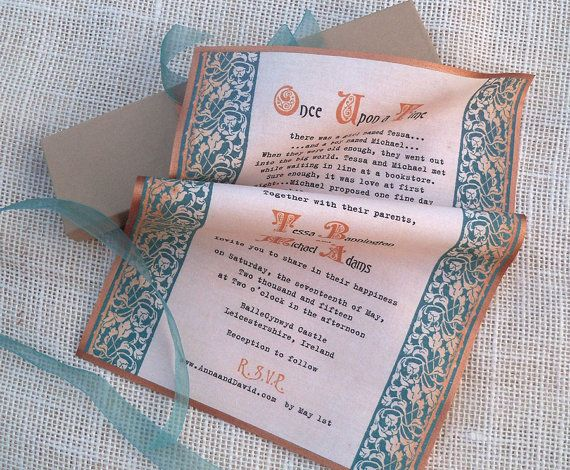 Medieval Wedding Invitation Scroll With Celtic Knots On Fabric With Prese Gold Wedding Invitations Gold Wedding Invitations Elegant Elegant Wedding Invitations