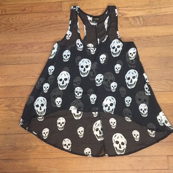 High-low skull tank top Sheer high-low skull tank top. Audrey Tops Tank Tops