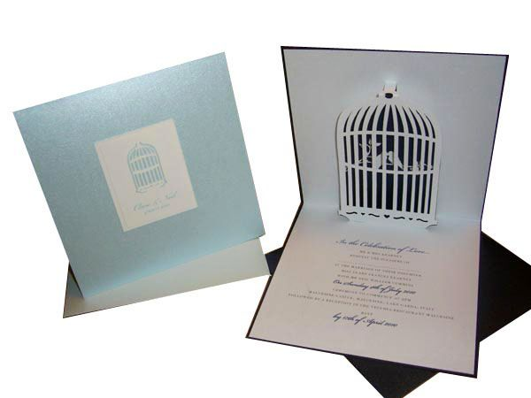 Unique Love Bird Wedding Invitation