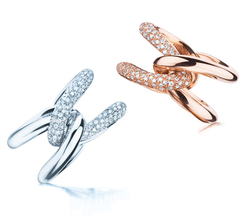 Maison Birks - Birks Links™ - 18kt rose gold and white gold ring with diamonds. Each ring has a total carat weight of 0.53ct.