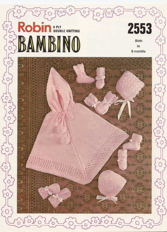 PDF Knitting Pattern Baby\'s Poncho Bonnets Bootees Mitts 4 Ply/DK 0 ...