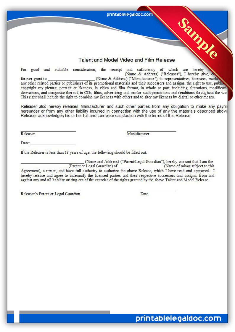 Free Printable Video Or Film Release Talent Models Legal Forms – Sample Talent Release Form