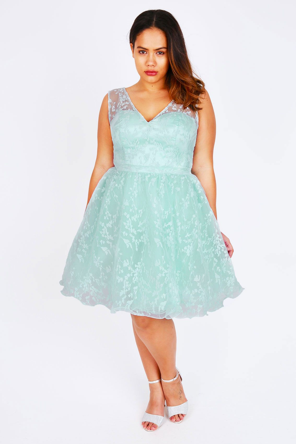 CHI CHI LONDON Mint Floral Embroidered V Neck Prom Dress | Love ...
