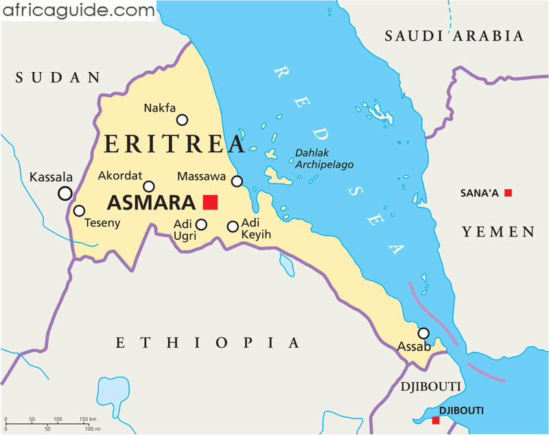 Map Of Africa Eritrea.Eritrea Map With Capital Asmara Africa Horn Of Africa African