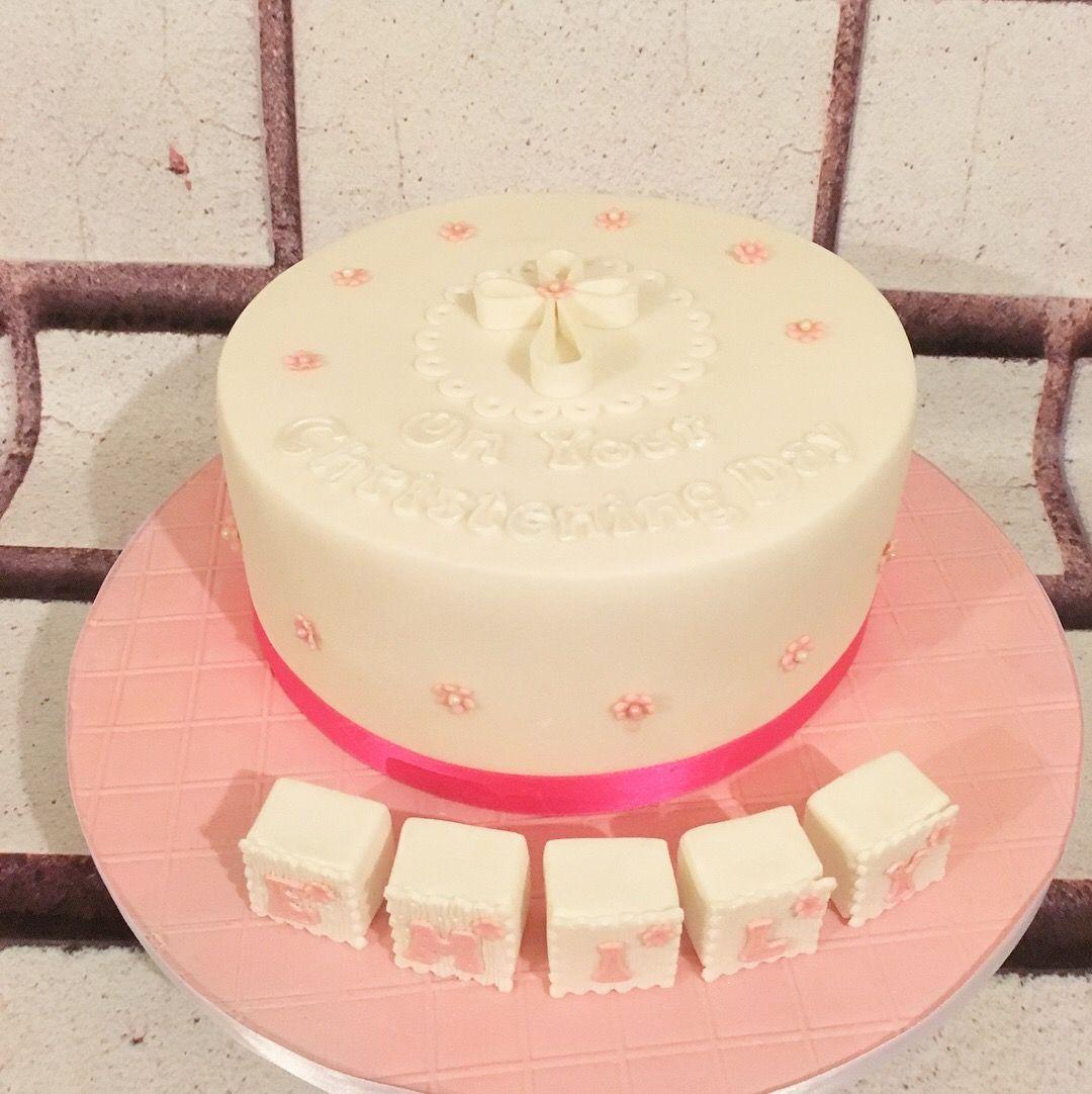 Christening cake for Emily, red velvet cake.